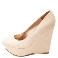Classic Platform Wedge Pumps by Charlotte Russe - Nude