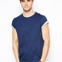 ASOS T-Shirt With Crew Neck And Contrast Sleeve Roll