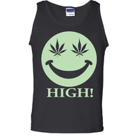Glow in the Dark Stoner Smiley Face Asst Colors Tank Top