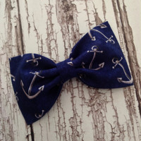 Anchor nautical navy fabric hair bow rockabilly pinup preppy