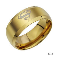Stainless Steel Titanium Ring Band Rotatable Silver Black Gold Men Wedding C3