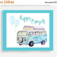 FLASH SALE Volkswagon nursery print, Blue and Gold, Digital download, Vintage theme, Watercolor balloon picture, Car Printable nursery pictu