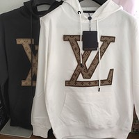 Louis Vuitton old flower L embroidery V plus velvet thick hooded sweater casual men and women with the same paragraph pullover sweater