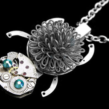Silver Hedgehog Necklace, Steampunk Hedgehog Necklace, Vintage Watch, Clockwork Hedgehog, Swarovski Hedgehog Necklace, Geekery, Porcupine
