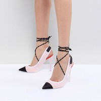 ALDO Heeled Slingback Shoe in Pink with Ankle Strap at asos.com