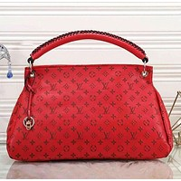 LV Louis Vuitton Hot Sale Women Fashion Leather Tote Handbag Shoulder Bag Red