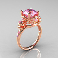 Modern Vintage 14K Rose Gold 2.5 Ct Light Pink Sapphire Wedding Ring, Engagement Ring R167-14KRGLPS