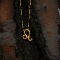 Leo Zodiac Sign,925k silver,Gold filled,Hand textured Necklace