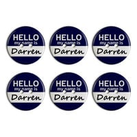 Darren Hello My Name Is Plastic Resin Button Set of 6