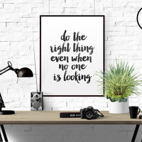 "Watercolor Motivational Quote ""Do The Right Thing Even No One Is Looking"" Quote For Living Room Rainbow Watercolor Hand Written Quote Print"