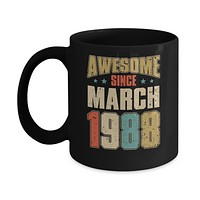 Vintage Retro Awesome Since March 1988 32th Birthday