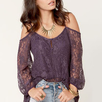 In Good Shake-spirits Off-the-Shoulder Purple Lace Tunic Top