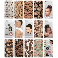 Kimoji Kim Kardashian kanye west north kylie jenner Soft TPU Phone Case Cover Coque For iPhone 7Plus 7 6 6S 5 5S SE 5C 4 4S