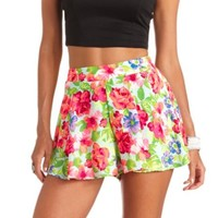 FLOWY NEON FLORAL PRINT HIGH-WAISTED SHORTS