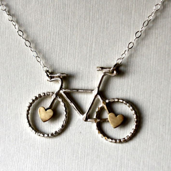 Sterling Bike Necklace with Brass Hearts