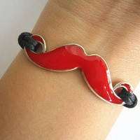 Red Mustache Bracelet, Moustache Bracelet, White Wax Rope, Personalized Friendship Graduation Birthday Christmas Gifts