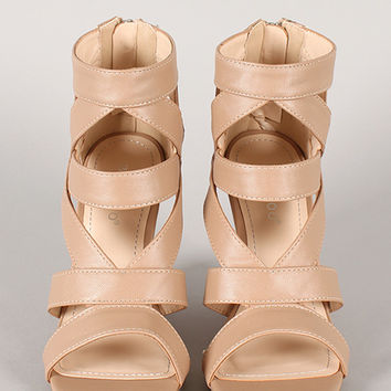 Bamboo Royce-09 Strappy Caged Open Toe Wedge