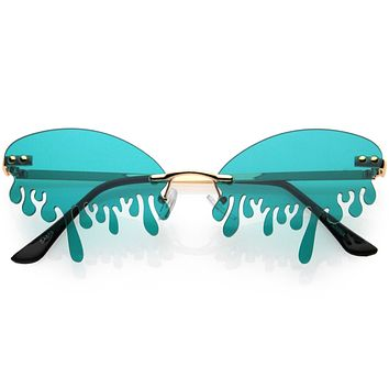 Oozing Melting Effect Color Tinted Lens Oval Rimless Drip Sunglasses D072