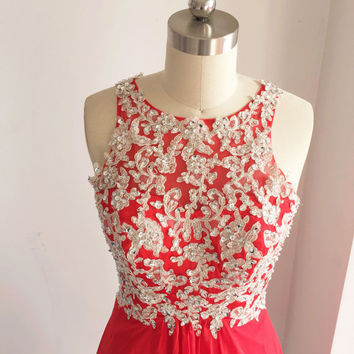 Red Short Prom Dress, Straps Lace Chiffon Formal Dress, Wedding Party Dress,  Tea Length Lace Chiffon Dress, Homecoming Dress