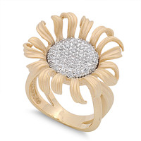 925 Sterling Silver CZ Two Toned Sunflower Ring