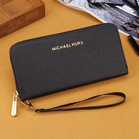Michael Kors Women Fashion Leather Zipper Purse Wallet