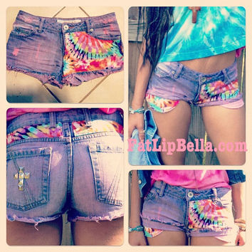 Customized Low rise Tie Dye Daisy Duke Hipster beach shorts studded with pink wash