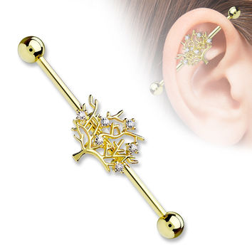 Gold Tree of Life CZ Set 14ga 316L Surgical Steel Industrial Barbells Body Jewelry
