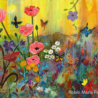 Pink Poppies in Paradise with flowers and butterflies