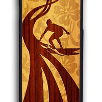 Hawaiian Surfer On Wood for Iphone 6 Hard Cover Plastic