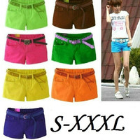 Summer 2015 Denim Shorts Slim Fit Candy Color  Short Pants Plus Size XXXL Short Jeans Women Shorts Denim = 1930335364