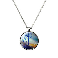 Blue Morning Fog in the Woods- Necklace Jewelry stainless steel casing crystal glass pendant with colorful woodlands print.