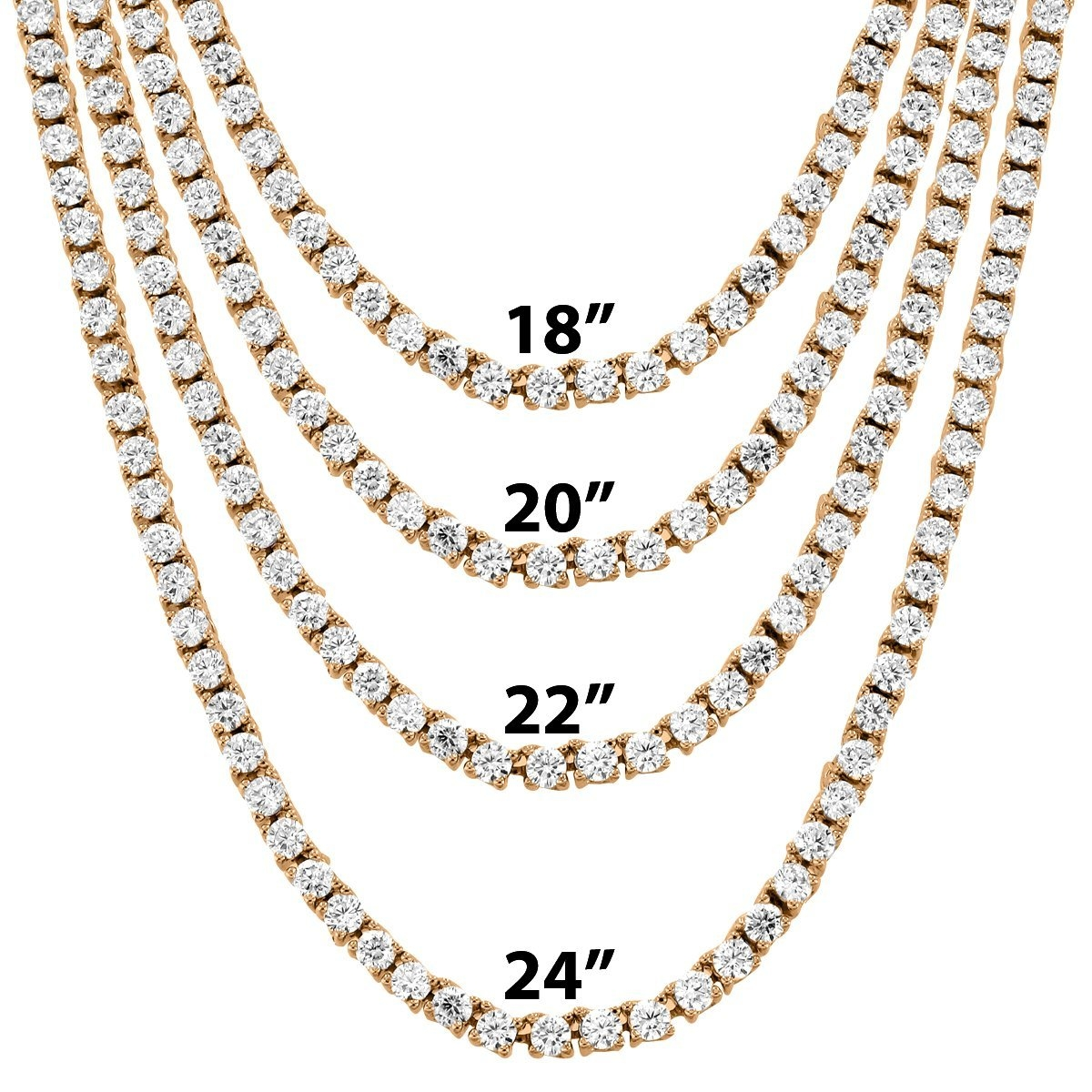 """Image of 3mm 18""""-24"""" Rose Gold Finish One Row Tennis Hip Hop Chain"""