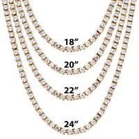 "3mm 18""-24"" Rose Gold Finish One Row Tennis Hip Hop Chain"