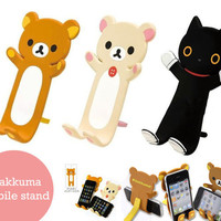 Cute Rilakkuma Black Cat Lazy Bear For iPhone 3GS 4 4G Stand Hoder New