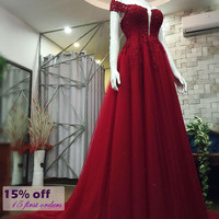 Red A-Line Princess Court Train Lace Open Back Gown/Special Occasion Dress