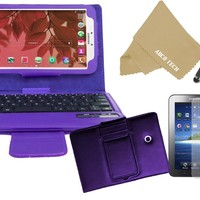 Abco Tech Protect your Samsung Tab 3 4-item Bundle - Includes: Bluetooth Keyboard Cover Case for Samsung Galaxy Tab 3 Android Tablet, Stylus, Screen Protector and Fiber Cloths