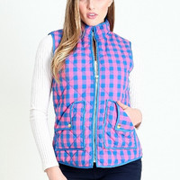 Mommy & Me Plaid Vest - Pink/Blue