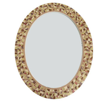 Brown Wall Mirror, Oval Mosaic Mirror, Decorative Mirror, Brown and Tan Home Decor, Bathroom Mirror, Oval Wall Decor, Mosaic Art