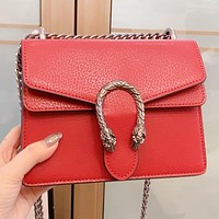 GUCCI Fashion New solid color chain leather shoulder bag crossbody bag Red
