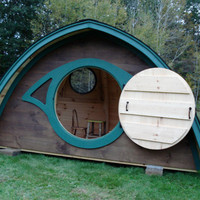 $3,140.00 Wooden Hobbit Hole playhouse with a round by HobbitHoles