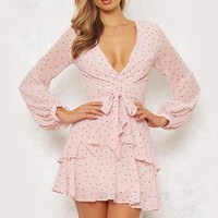 Polka Dot Pink Ruffle Dress Women Mesh Long Sleeve Short Sexy Dress V Neck Layered Mini Dress