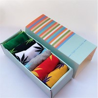 Hot sale! men socks cotton gift box 6 pairs/lot Spring Summer and Autumn brand Weed socks colorful Male and men's cotton socks