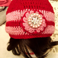 "L/XL *Sparkle & Shine* ""Handmade"" Crochet Beanie with a Unique Sparkly Brooch.  Ready to Ship"