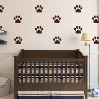 Puppy Paw Prints Wall Decals - Set of 5 Inch Paw Prints - Puppy Wall Decals - Nursery Kids Room Decor - Boys Room Wall Decals 22542