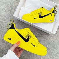 NIKE AIR FORCE 1 DUMR Fashion New Hook Women Men Sports Leisure Running Shoes Yellow