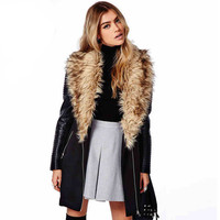 Long Sleeves Fur Lapel Faux Leather Spliced Coat