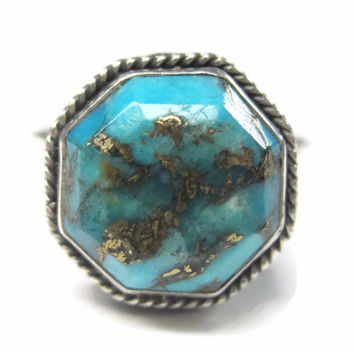 Vintage 90s Balinese Turquoise Ring Sterling Size 9.5