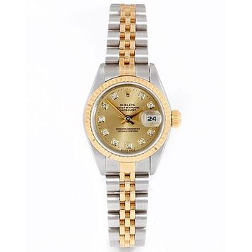 Rolex Stylish Women Men Delicate Diamond Watch Couple Wristwatch I