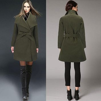 Turn-down Collar Mid-length New Wool Coat With Belt on