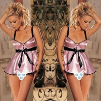 Lace lingerie White babydoll Dress Sleepwear Nightwear Underwear G-String PK